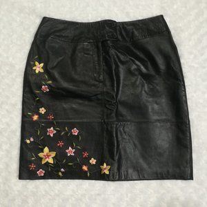 Alfani Womens Leather Floral Black Skirt Size 10p